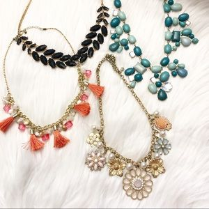 Jeweled Statement Necklace Bundle Of 4